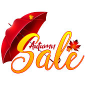 Sticker, label or advertisement for autumn sale.