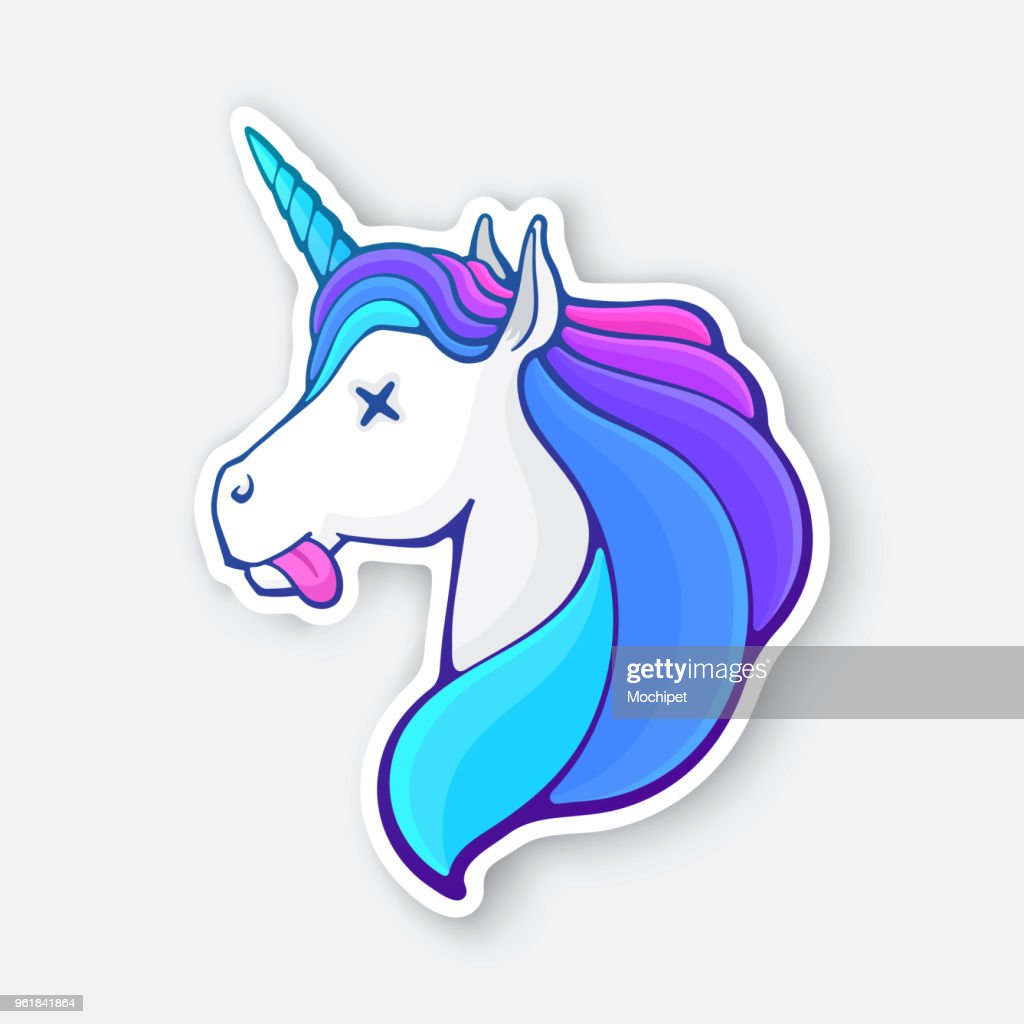 Sticker of fairy tale dead unicorn head with tongue, crossed eye and rainbow mane
