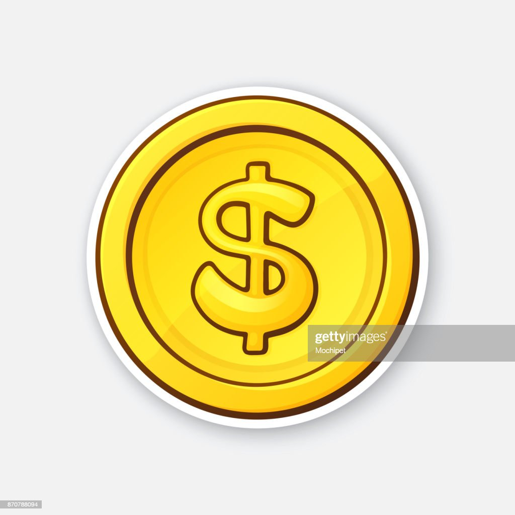 Sticker of gold coin of American dollar