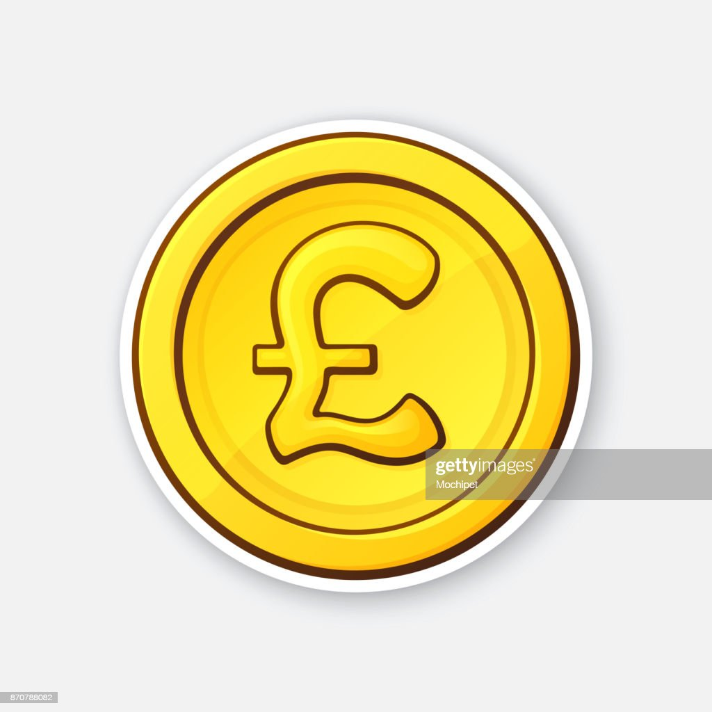 Sticker of gold coin of British pound