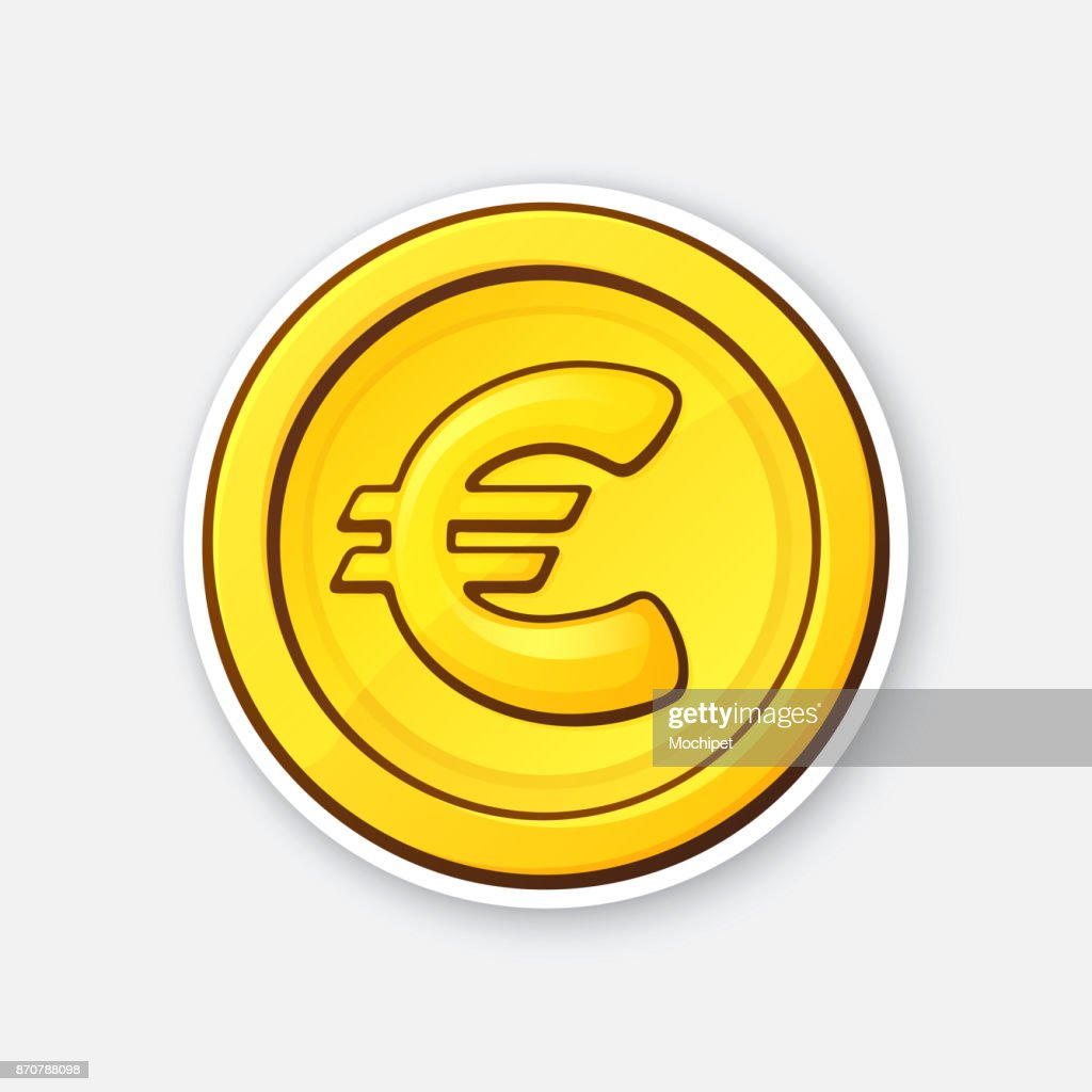 Sticker of gold coin of European Union euro
