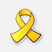 Sticker of gold ribbon, symbol of Childhood Cancer