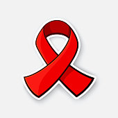 Sticker of red ribbon, symbol of world AIDS awareness Day