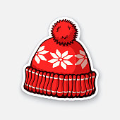 Sticker of red winter hat with pompon and snowflake pattern