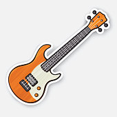 Sticker of wooden rock electro or bass guitar