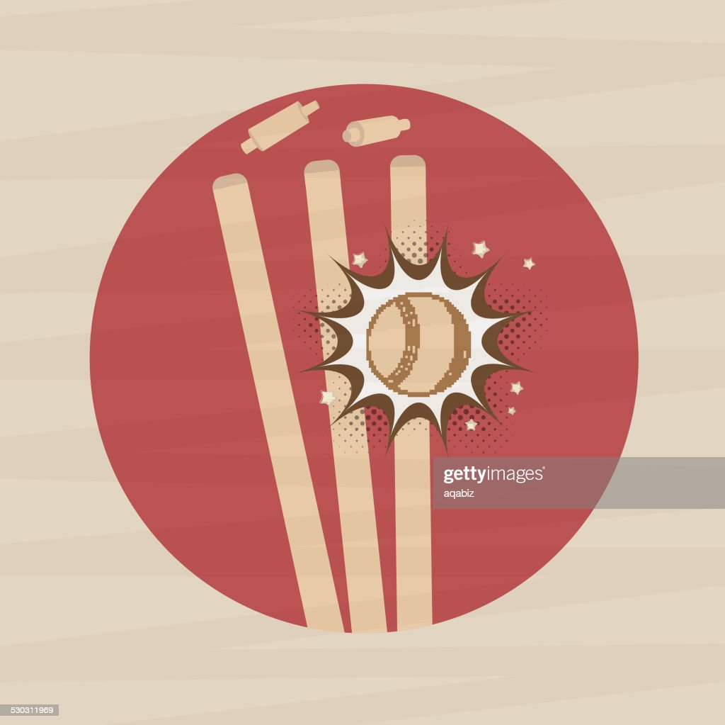 Sticker or label for cricket match.