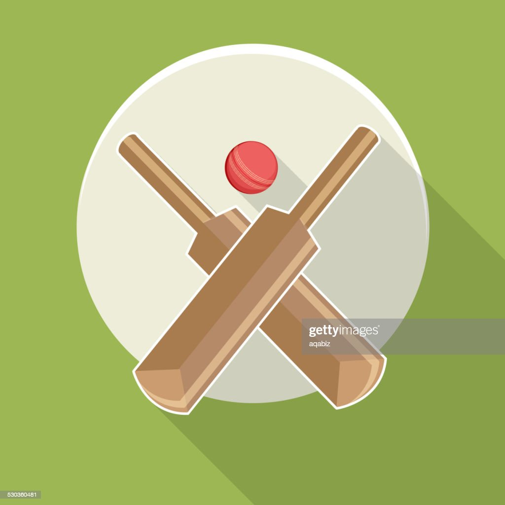 Sticker or label with bat and ball.