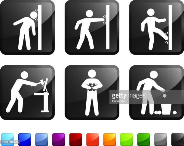 sticker set depicting frustrated cartoon man - concrete wall stock illustrations, clip art, cartoons, & icons