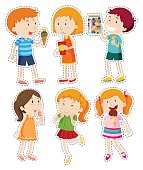 Sticker set of boys and girls il