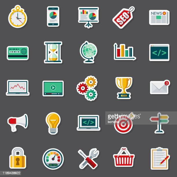 seo sticker set - group of objects stock illustrations