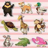 Sticker set with wild animals on pink background