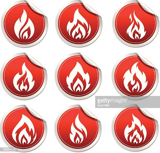 sticker with symbol flame - inflammation stock illustrations