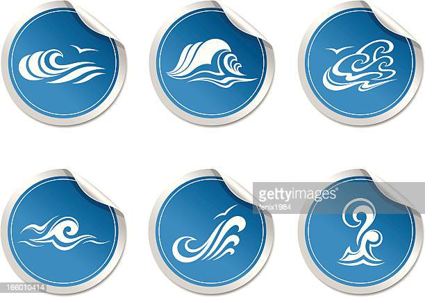sticker with symbol  wave - waterfall stock illustrations, clip art, cartoons, & icons