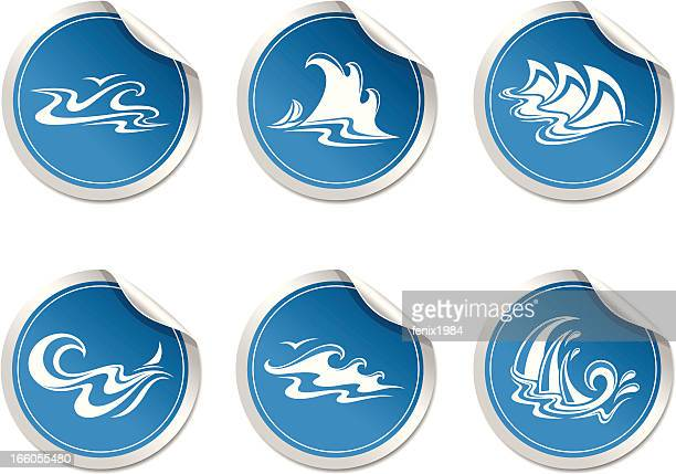 sticker with symbol  wave - hurricane stock illustrations, clip art, cartoons, & icons