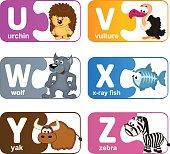 stickers alphabet animals from U to Z