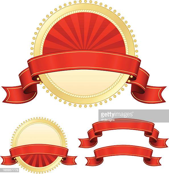 stickers, banners, ribbons set in red, gold, cream - memorial plaque stock illustrations, clip art, cartoons, & icons