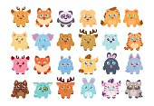 Stickers collection: cute cartoon baby animals.