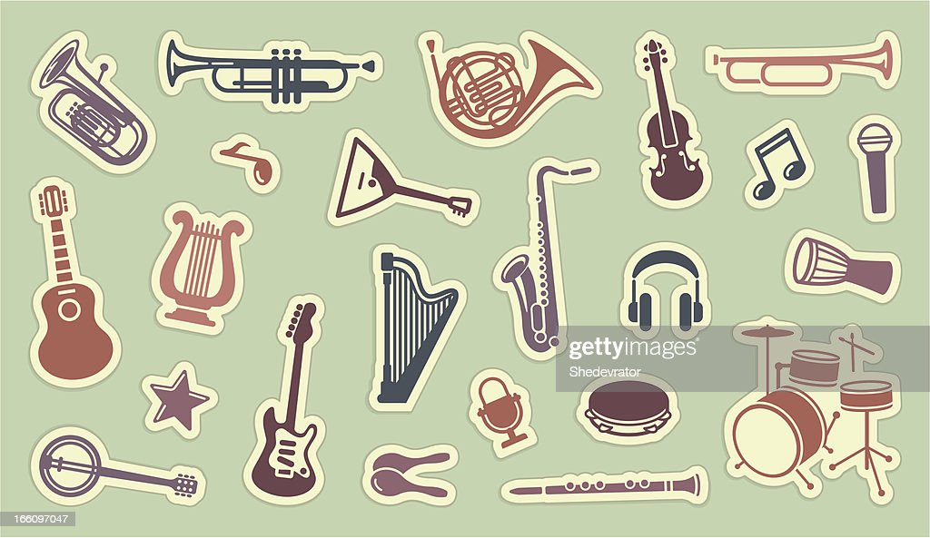 Stickers of musical instruments on green
