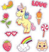 Stickers set pop art style with unicorn