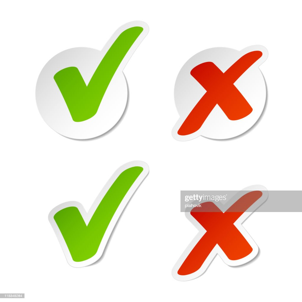 Stickers with check marks and x symbols