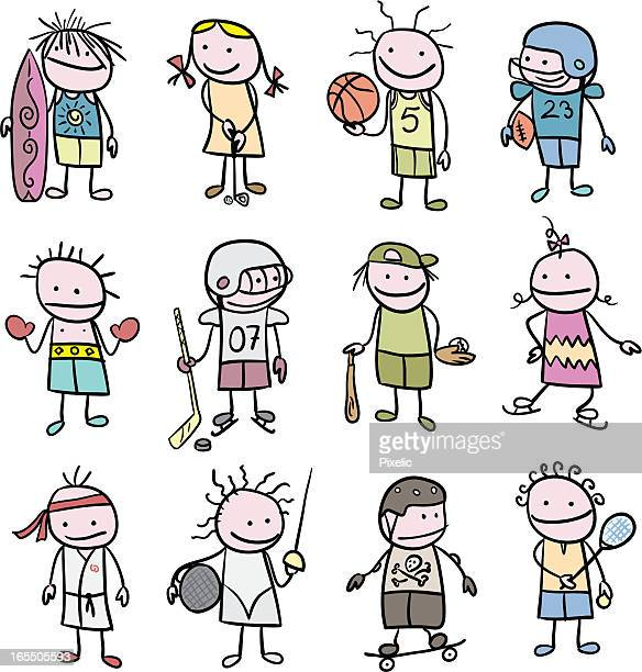 stickfigure children and sports - traditional sport stock illustrations, clip art, cartoons, & icons
