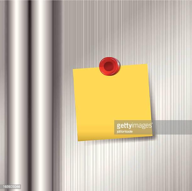 klebezettel auf kühlschrank mit magnet - schriftnachricht stock-grafiken, -clipart, -cartoons und -symbole