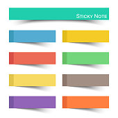 Sticky note with flat color . Vector