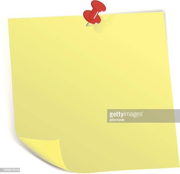 sticky note with pin - post it stock illustrations, clip art, cartoons, & icons
