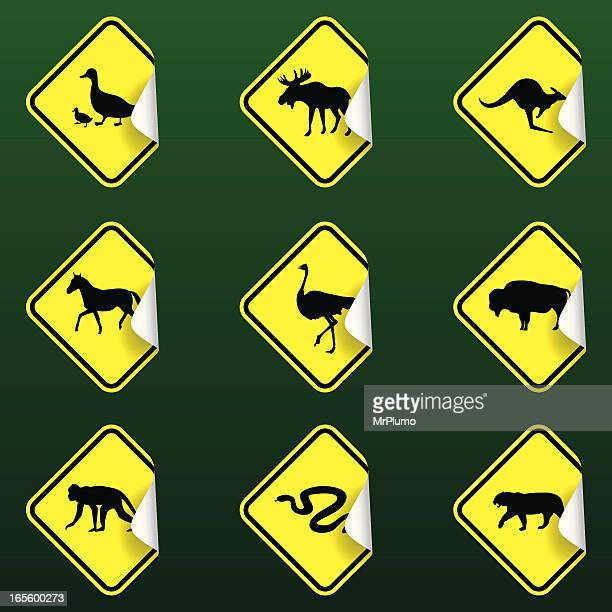 sticky road signs | animal crossing - crossing sign stock illustrations, clip art, cartoons, & icons