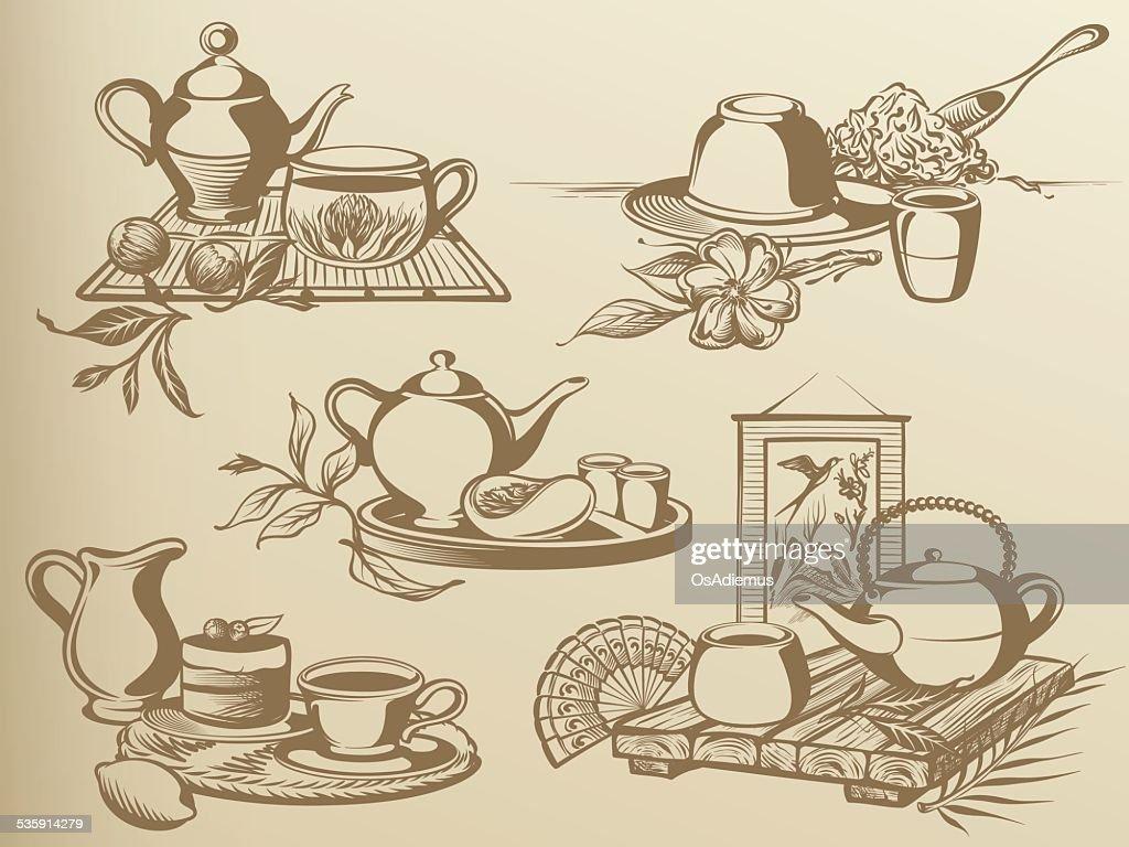 Ainda-vida de Cerimónia do Chá : Arte vetorial