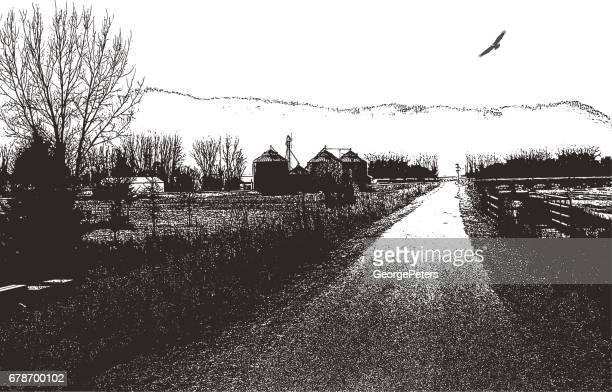 春の時間で風光明媚な田舎道のイラストを点描します。
