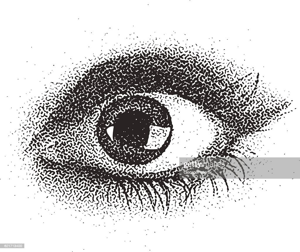 Stipple illustration of a young woman's eye