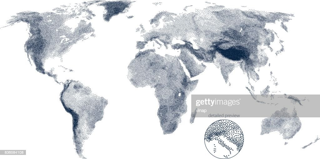 Stippled world relief vector map