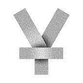 Stippled yen or yuan sign icon. Yen or yuan currency symbol. Vector illustration.