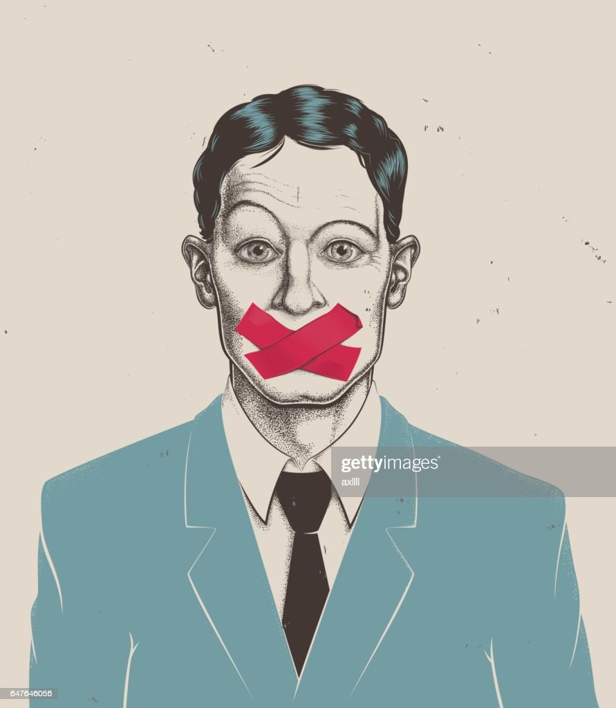Stippling businessman tape on mouth : stock illustration