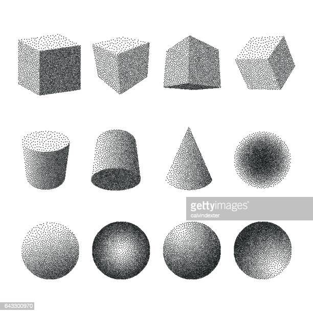 stippling geometric shapes - stipple effect stock illustrations