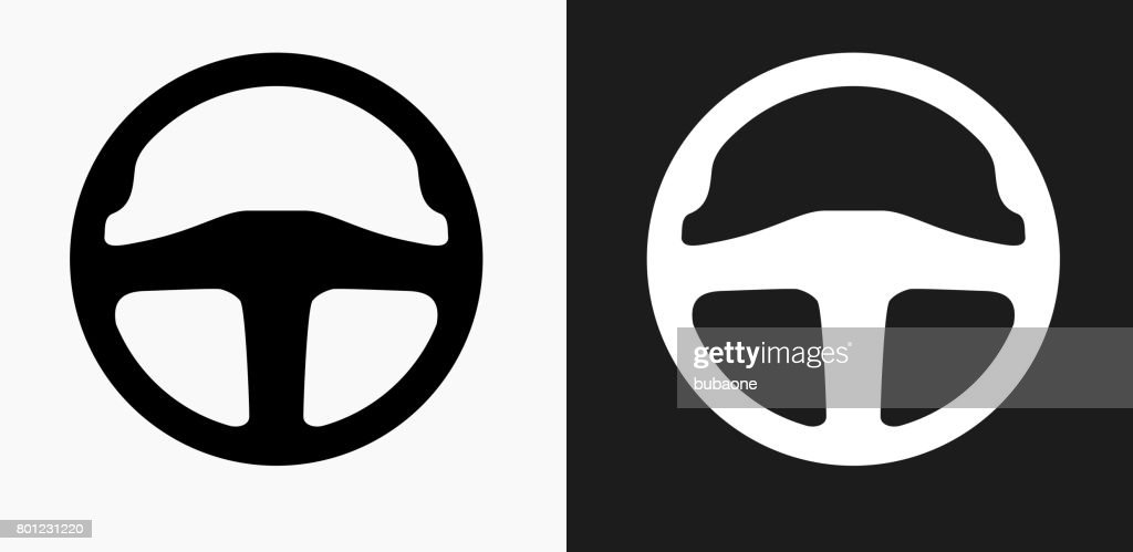 Stirring Wheel Icon on Black and White Vector Backgrounds : stock illustration