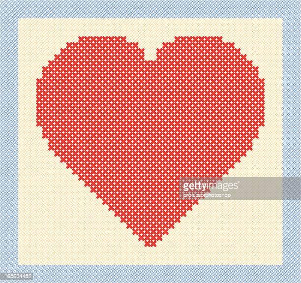 ilustraciones, imágenes clip art, dibujos animados e iconos de stock de cosido corazón - aplique arte de la costura