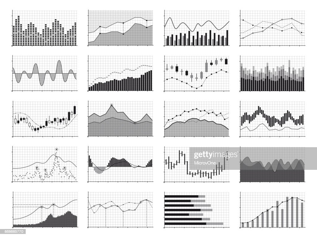 Stock analysis graphics or business data financial charts isolated on white background