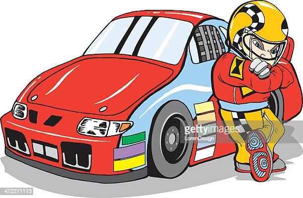 stock car and driver cartoon - race car driver stock illustrations, clip art, cartoons, & icons