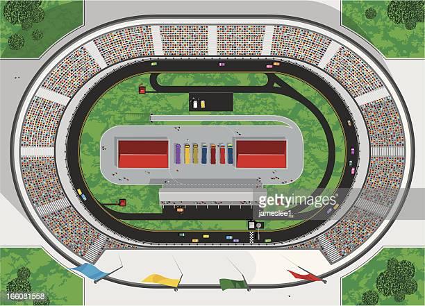 ilustraciones, imágenes clip art, dibujos animados e iconos de stock de pista de carreras de stock car - circuito de carreras de coches