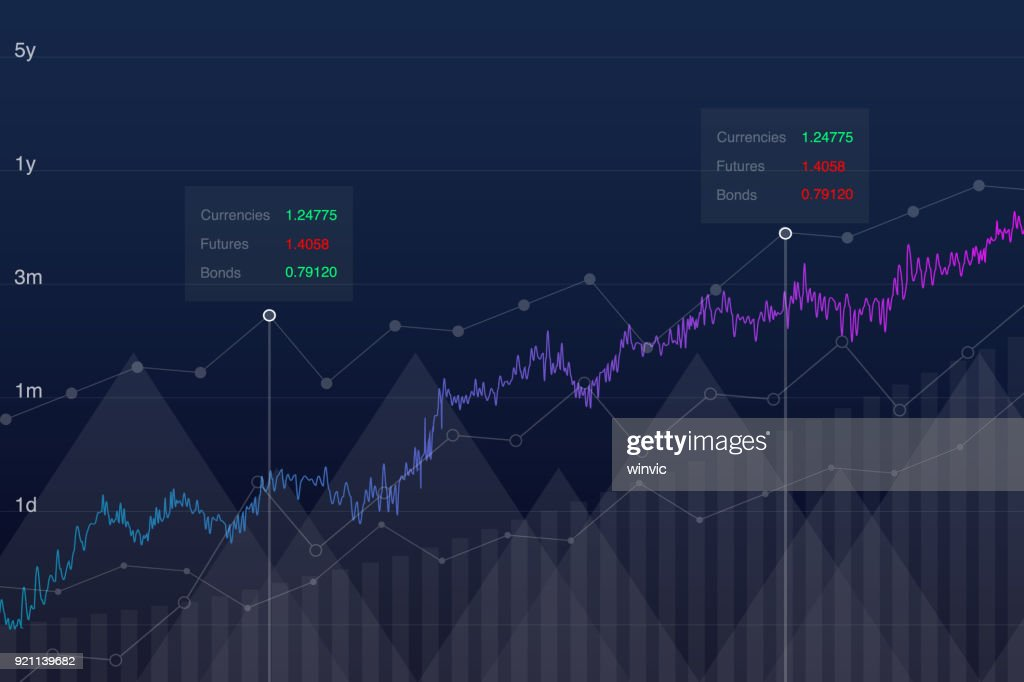Stock chart trading graph idea, vector illustration. Neon market growth graph, analysis tools conceptual background. Investment monitor diagram, stock data.