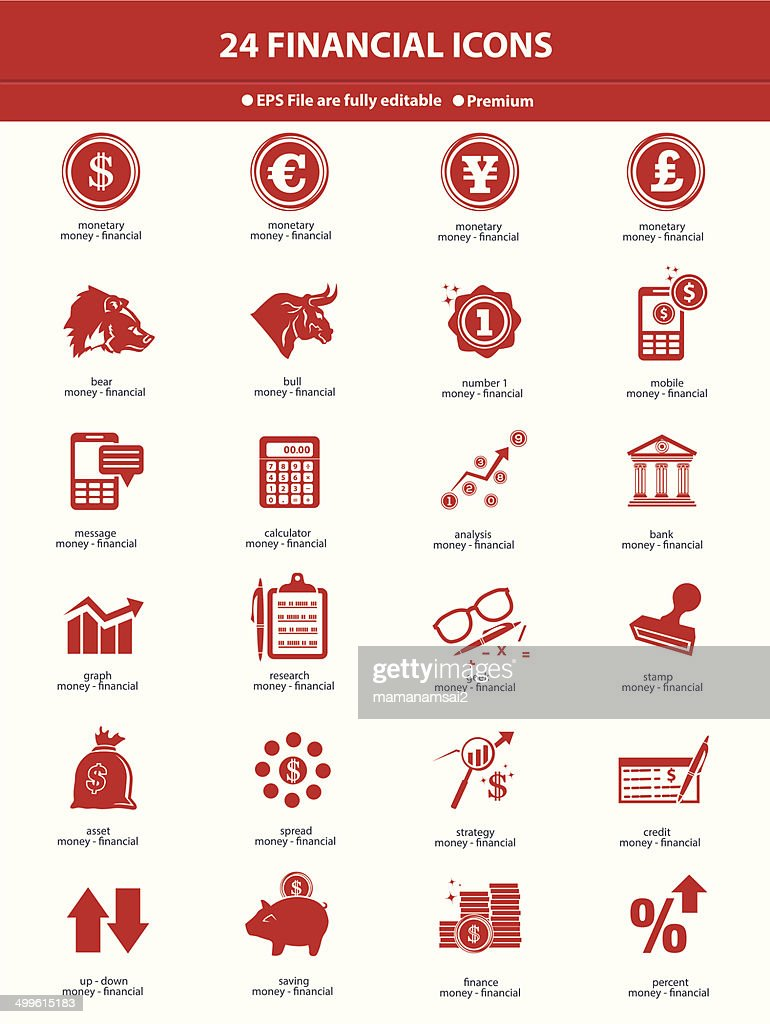 Stock exchange & finance icons,red version on white background,vector