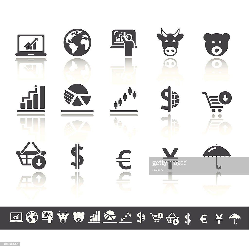 Stock Exchange Icons   Simple Grey : stock illustration