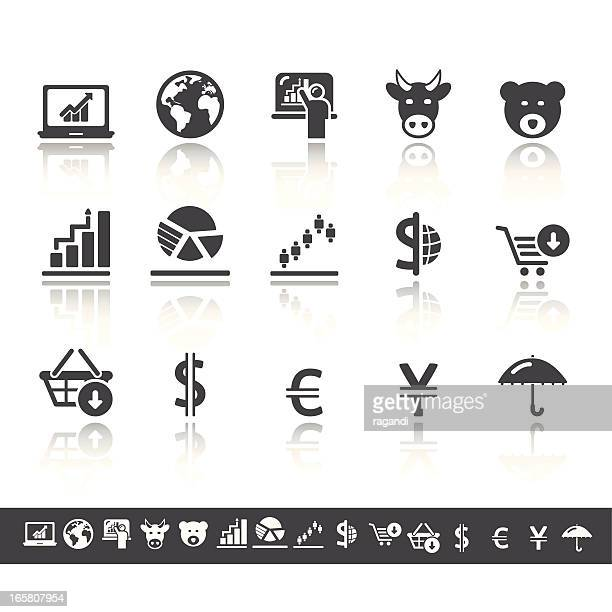 Stock Exchange Icons | Simple Grey