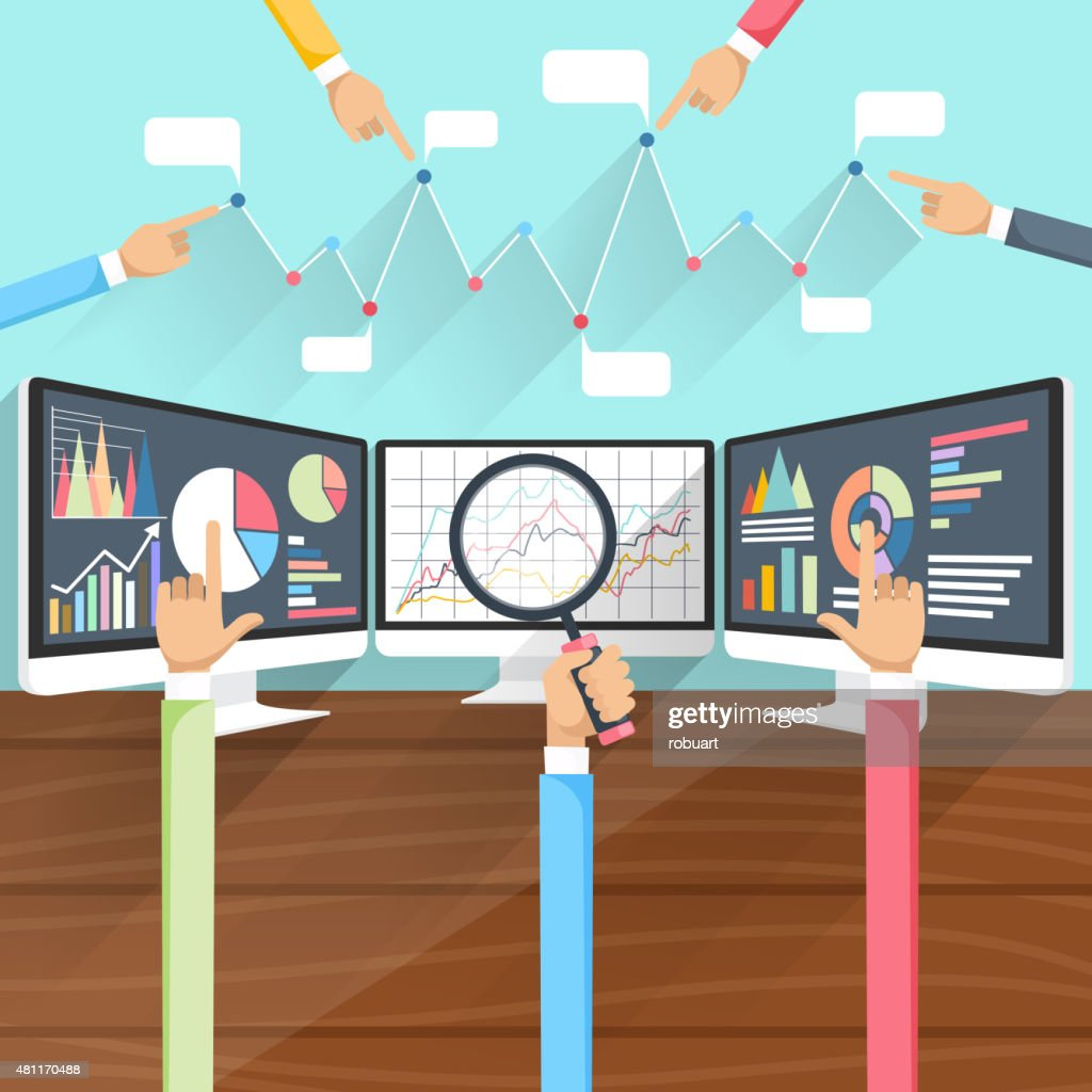Stock Exchange Rates on Monitors with Hands