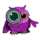 Stock Illustration Owl Looks Through a Magnifying Glass