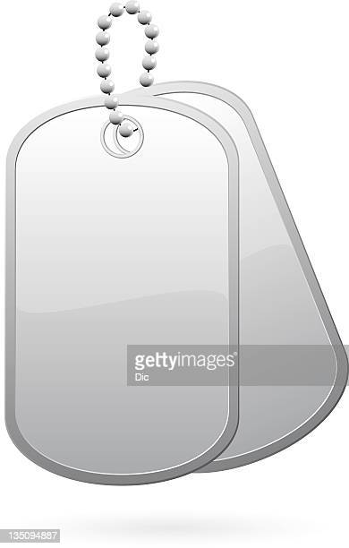 Stock image of blank dog tags on a chain
