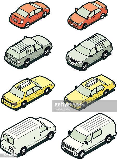 Stock Isometric Vehicles, Front and Back