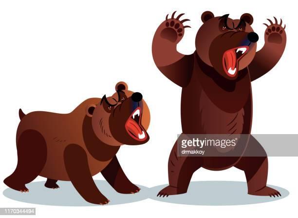ilustraciones, imágenes clip art, dibujos animados e iconos de stock de mercado de valores y angry bear - oso pardo